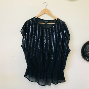 Lane Bryant Black Sheer Sequin Short Sleeve Top